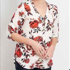 Maurices Red Floral Double Button Blouse